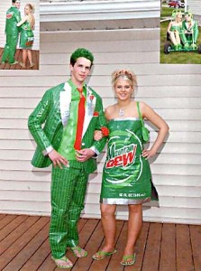 I'm sure these two are getting paid for doing this. Seriously, that's the only reason why I'd wear a Mountain Dew dress. Also, the guy seems like he's one face paint away from being a Batman villain.