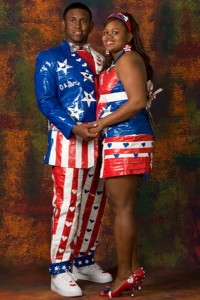 These two seem like they're the part of the pep squad for Apollo Creed or the Harlem Globetrotters. Then again, they're doing it for the Stuck at Prom competition, but still.