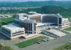 This is in Pyongyang, North Korea. However, considering that North Korea is one of the most repressive countries ever, this building is quite fitting, indeed.