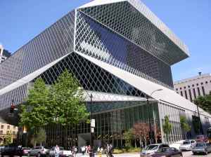 This is Seattle's Public Library in Washington state. But I'd sure not want to think that a boxy glass building would be a nice place to read.