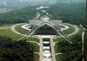 This is called the Karen Demirchyan Sport and Concert Complex in Armenia. But you probably think it's a cross between a Chinese temple and a Flash Gordon spacecraft.