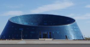 This is the Palace of Creativity in Astana, Kazakhstan. It's creative all right, but as an architectural masterpiece? Not a chance. I mean it looks like a giant dog bowl.