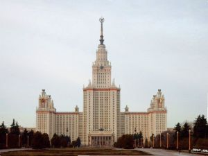 This piece of Stalinist architecture is the Seven Sisters skyscraper in Moscow. It's one of those buildings that combines the ego of Josef Stalin to the glitz of Las Vegas and not in a good way.