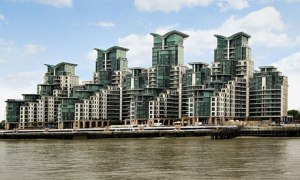 This is St. George's Wharf in London, England. But looking at these, you wonder whether they have faces or if any bad people live in them.