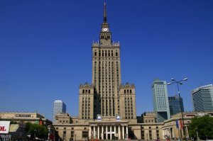This is the Palace of Culture in Warsaw, Poland. But, yes, you can totally imagine some powerful Steampunk or Sci-fi villain living there, especially one with lightning hands and giant lasers.