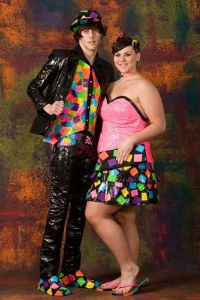 "Of course, it's probably prom since their outfits seem to be made from duct tape for the ""Stuck at Prom"" competition. They're probably repressed art students, go figure."