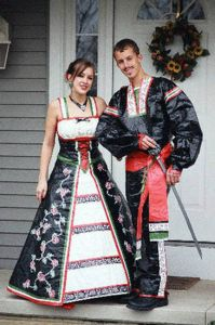 I don't know about you, but I'm sure if you had European ancestors, I'm sure they didn't dress at all like that in the home country. Unless you're counting fairy tales, of course. Also, I'm sure the guy's not allowed  to bring a sword to prom.