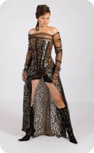 Now if this wasn't a prom dress, I could've almost mistake it for a Victoria's Secret lingerie ad. Seriously, kind of looks unbelievably skimpy once you add leopard prints.