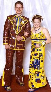 Of course, when I look at these outfits, it makes me not look forward to what high school kids might wear for prom in the future. This is especially the case with the guy wearing a brown suit.