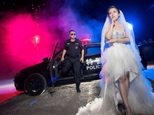 I'm sure this was done by a couple because the bridegroom is a cop. Nevertheless, this bride doe have the right to remain single. Wedding song is possibly,