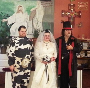 Seriously, I don't think a cow costume is proper wedding attire for a groom. Still, I'm sure the missus will udderly milk him for all its worth.