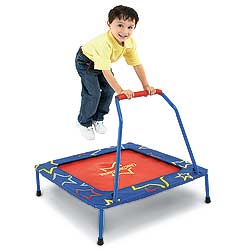 A kind of trampoline for your child minus the terrible injuries or fun. Seriously, if you kid thinks holding a bar while jumping repeatedly is fun, you might need to reconsider their sugar intake.
