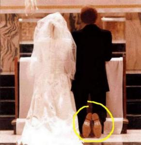 I'm sure this is a joke. But as I can tell by the bridegroom's soles, I don't have much hope for the two of them.