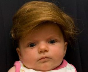 As to why anyone would want their babies to look like Donald Trump, I don't have the slightest idea. Seriously, I'm sure the hair is as fake as the ugly mop Donald Trump has on his own head. And let's just say, your baby is much less whiny and self-centered than he is.