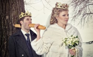 Okay, I'm not sure how the bread passes through the groom's head to the tree. Oh, yes, I do photoshop.