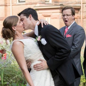 Someone doesn't seem to tolerate excessive public displays of affection, even at weddings. Perhaps they need to save the nasty stuff for the honeymoon.
