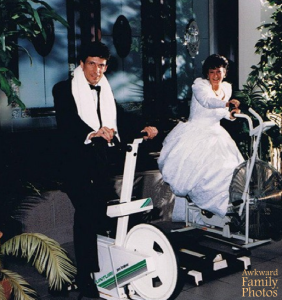 Now I know that exercise is important to a healthy lifestyle. But really, working out in your wedding clothes? That's not  very practical.