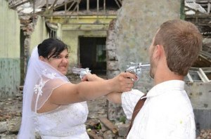 Seriously, this is supposed to be a happy occasion. Do you want to blow your whole future away through a game of Russian roulette? Besides, guns have absolutely no place in weddings at all, even in westerns.