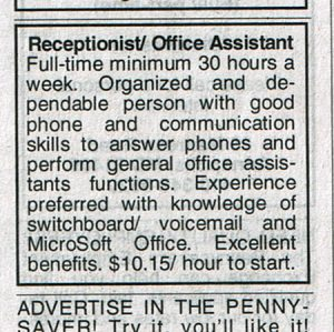 Guess they aren't looking for anyone under 80 in this line of work. Seriously, who the hell would have experience in operating a switchboard which is just so early 20th century?