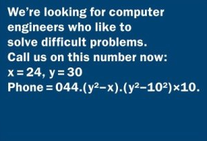 This company must really be desperate for computer engineers since they leave the numbers for x and y for you. Also, I can actually guess the number is 044-876-8000 with some calculation. Seriously, why they just have applicants solve for x and y.