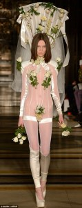Okay, maybe the more naturalistic approach is a bad idea. Seriously, she looks like a garden vine fixture in that outfit.