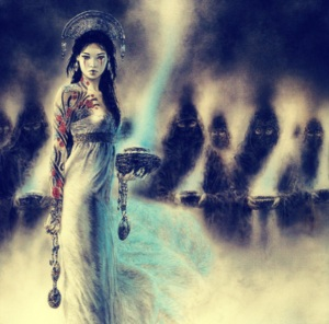 As Innana's best friend and messenger to the gods, Ninshubur plead with Enki to revive Inanna after Ereshkigal struck her dead in the Underworld. However,  she also abetted in many of Inanna's schemes as well.