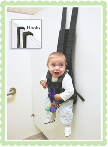 Because when mommy and daddy have their hands full, baby needs to be strung up and put against the wall. Guaranteed to traumatize the little tykes that they'll need a diaper change every time they're out of it.