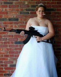If her husband were smart, he'd be sure to keep it in his pants. Because let's just say, I wouldn't mess with a bride holding a weapon as we've all learned from Kill Bill.