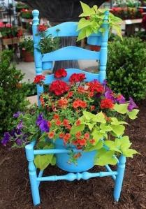 Not sure if the pot and chair were spray painted or not. Either way, the flowers are certainly pretty.
