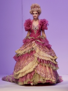 Well, I'm sure if you're planning a Hunger Games style wedding, this would be perfect. Reminds me of something Effie Trinket would wear.  May the marriage odds be in your favor.