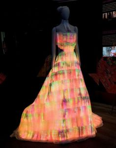 Okay, now this dress reminds me of TRON: Legacy. More appropriate if your reception hall is a disco club or a rave.