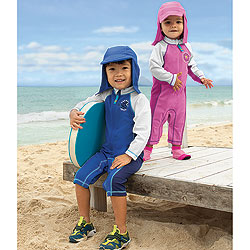 "These suits are meant to protect babies and toddlers from sunburn. Still, sunscreen was invented like 100 years ago, so parents don't have to dress their little ones at the beach with ""My Very First Haz Mat Suit.&quo"