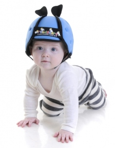 Sure babies have softer heads than the rest of us. But still, I'm sure most of us have transitioned from infancy and toddlerhood just fine without the need for a stupid helmet like this.  Seriously, kids get bumps and bruises all the time. The best we can do is make sure they're more careful.