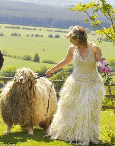 To be fair, the bride is a sheep farmer. So it's only natural for her to want a sheepskin dress. Yet, not sure if I'd want to wear a wool skirt at my wedding.