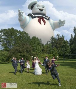 When the Stay Puft Marshmallow Man crashes and wreaks havoc at your wedding, who ya gonna call? Ghostbusters!