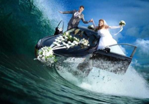 For one, I'm sure the car is not amphibious. Second, I'm sure a tidal wave will ruin it along with the flowers and the couple's clothes. Third, I'm very sure this is photoshop. Nevertheless, don't me why these two thought a photo like this was a good idea.