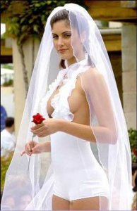 Not sure if I think this is skimpy because it's short or that the bride isn't wearing a bra. Either way,  wouldn't want to wear that for my wedding.