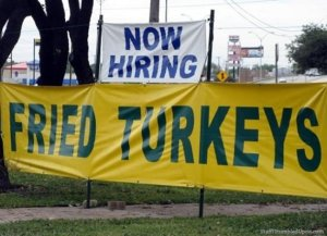 I'm sure this is a case of bad ad placement. Seriously, who'd want to hire fried turkeys. Still pretty funny.