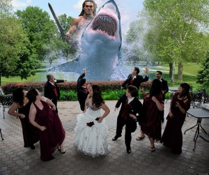 Okay, if I were there during a wedding reception, I'd be freaking out and soaking my pants, possibly shitting them. I mean it's not normal.  But none of them seem very  upset or fleeing for their lives. In fact, they seem rather in awe.