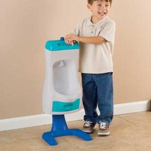 I'm sure there's a better way to teach your son how to pee standing up than buying his own training urinal. It's called the toilet and he could even use it to pee sitting down, too. Also, what's wrong with teaching him how to pee sitting down first?