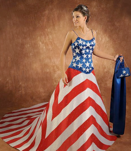 Actually as per my American flag article, this is the kind of dress a patriotic princess shouldn't wear to her wedding unless she's marrying Captain America. Seriously, wearing the stars and stripes is said to be very disrespectful according to the flag code.