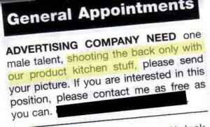 I know this ad is seeking male talent for an ad photo shoot. Of course, when you have the words,