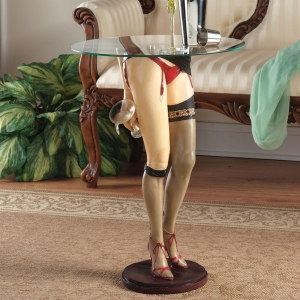 Good: Would make a fine addition for the Christmas Story Leg Lamp you bought him for Christmas. Bad: Makes a very inappropriate living room decoration.