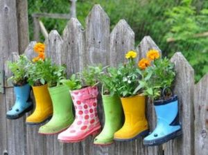 I bet these are old rubber boots that no longer fit. And they don't have much flowers on them. Still, they'll go in the post.