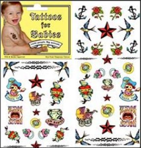 Of course, these aren't real. But still, I'm sure grandma won't be pleased assuming she's not in a biker gang. Seriously, babies are too young for tattoos.