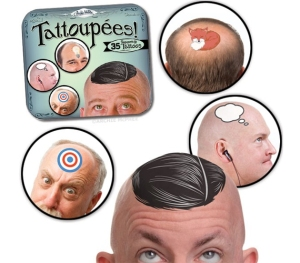 Snazz up your dad's chrome dome with an assortment of head tattoos. That will help him embrace his baldness.