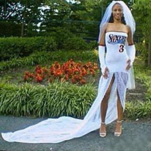 Let's just say if there's a place where sports licensed products shouldn't have a place in, then weddings would be it. Still, at least the groom won't feel that she's not just thinking about herself here.