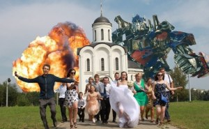 If I saw a wedding photo like this at someone's house, I'd question their taste in either wedding photography or movies. Seriously, it would've been fine the way it was without the photoshop. I mean why?