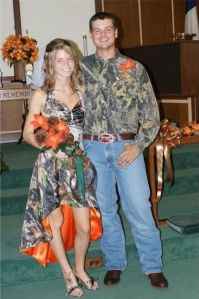 Let me say this and I want to be perfectly frank. Camo and bright orange are for hunting season and nothing else. It's not for formal events. Not weddings, not proms, and certainly not funerals. Do I make myself clear?