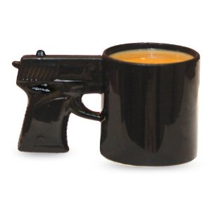 Now this is the gun every gangster reaches for first thing in the morning, every morning. Tony Soprano must have one of these or I'll be damned. Seriously, it's a perfect coffee mug for him.